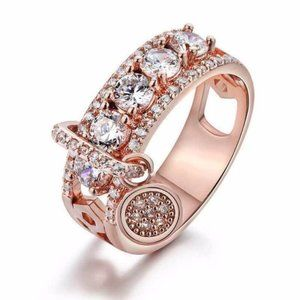 18k Rose Gold Plated Cubic Zircon Wedding Ring New